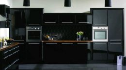 black kitchen design, colourful design, kitchen